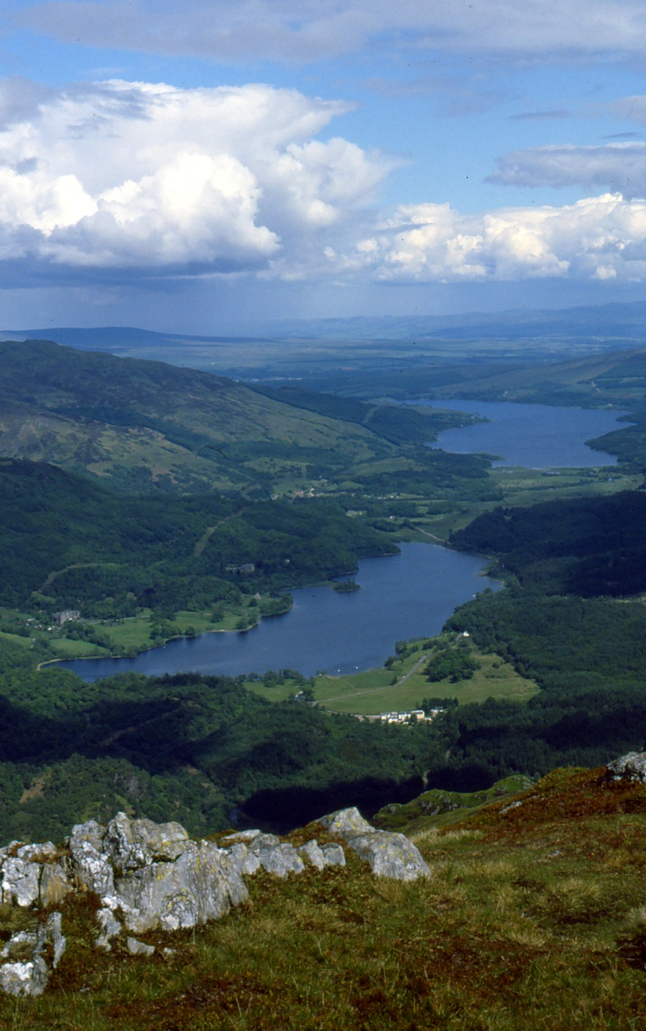 Lochs Achray and (distant) Venachar from summit of Ben Venue, TroSSachs - Scotland tourism heartlaNDS.