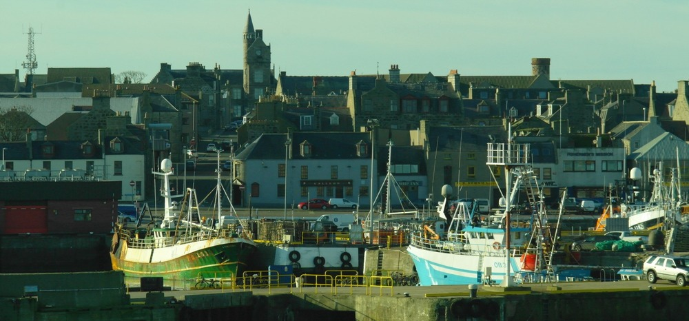 Fraserburgh Harbour. Not picturesque but with real Scottish accents – a proper language.