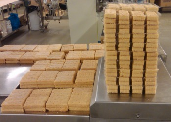 Scottish shortbread under construction in the Shortbread House, Edinburgh