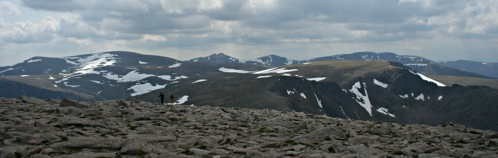 [In the heart of the Cairngorms. Pinkish granite hereabouts but theses are really the 'blue/grey stones' in Gaelic