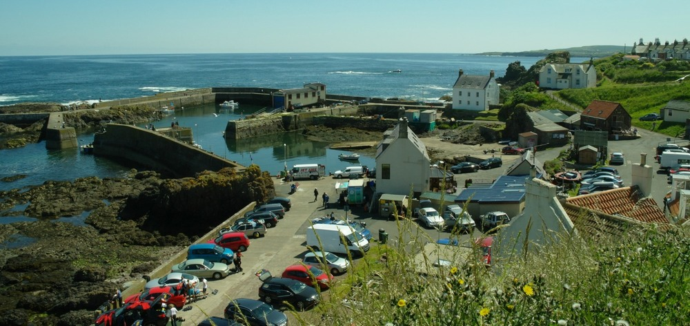 St Abbs in summer. Wall to wall flippers and aqualungs