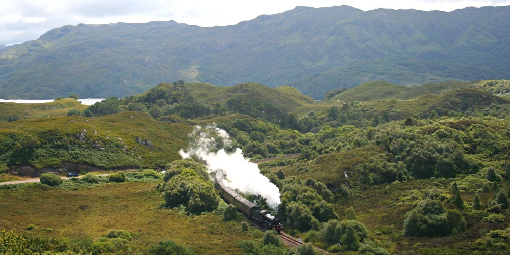 The Jacobite steam-hauled services between Fort William and Mallaig in summer.