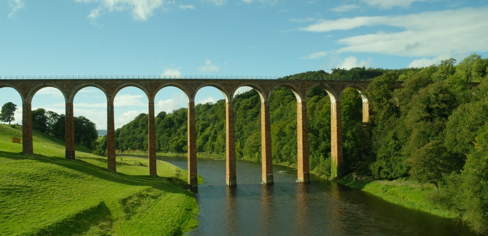 OK, to be honest, when I took this picture there were two guys in chest-waders further downstream but as everybody knows what an angler looks like, here's a picture of the River Tweed where it is spanned by the Leaderfoot Viaduct. Closed to rail freight traffic in 1965 (passenger traffic having ceased in 1948)   it is now in the care of Historic Environment Scotland. It's 126ft (38m) high and is an A-listed building. And more interesting than a man in chest waders. Trust me.