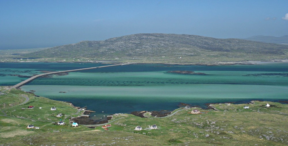 Southernmost tip of South Uist, from Eriskay, linked by a causeway