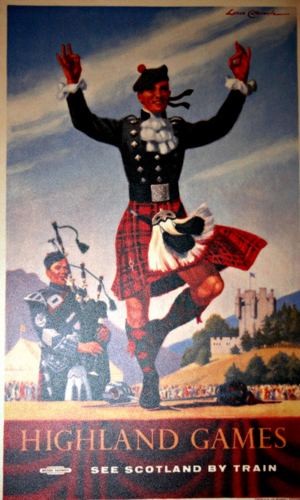 Tartan as visual cliché. Advertising material for the railways.