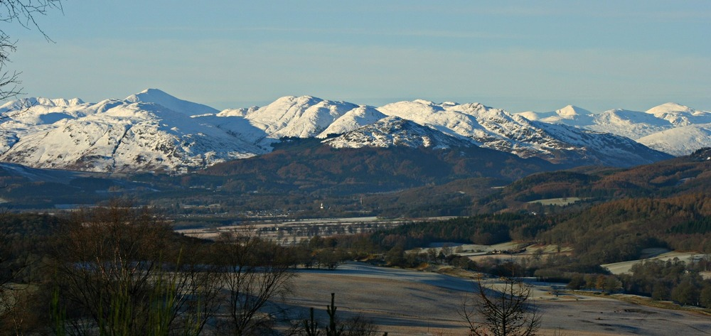 View from the top of the Knock Hill, Crieff, westwards up Strathearn