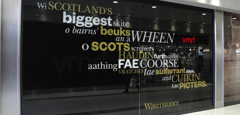 Scottish words in the window of Waterstones bookshop in Aberdeen