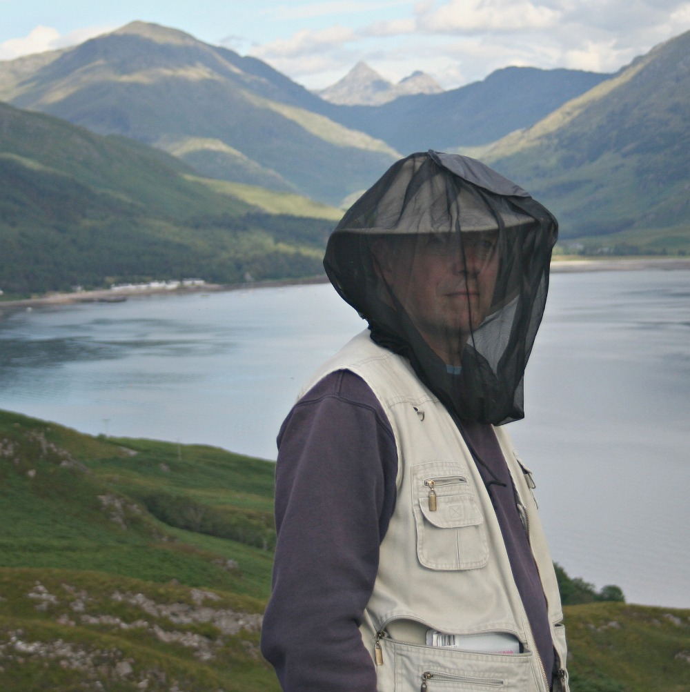 The all-important midge-hood in action in Knoydart