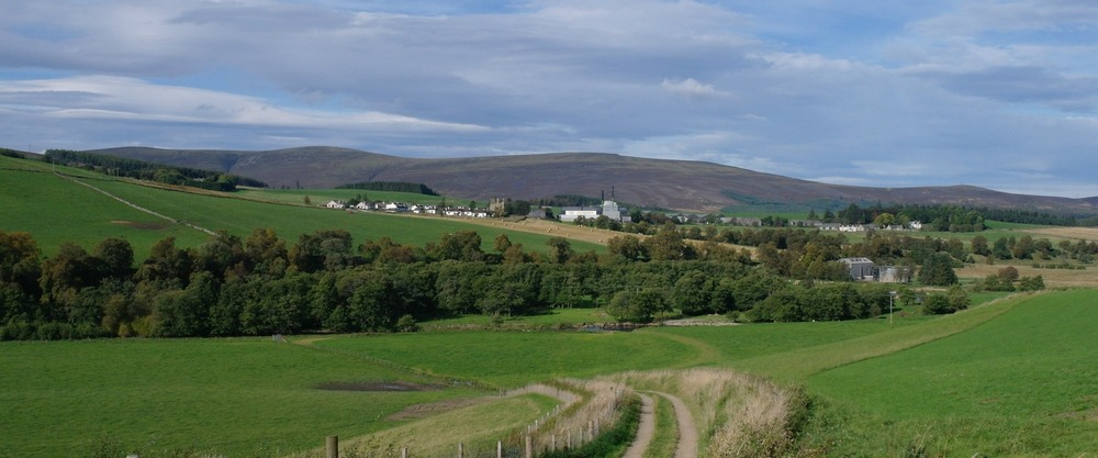Glenlivet malt whisky distillery (centre) in upcountry Moray