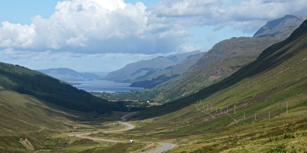 The A832 descends Glen Docherty on its way to the shores of lovely Loch Maree. A convenient viewpoint car-park makes picture-taking easy.