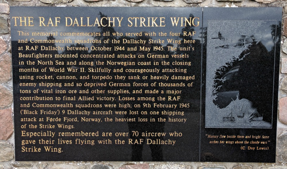 Drama and death distilled into a paragraph or two at RAF Dallachy Strike Wing Memorial.