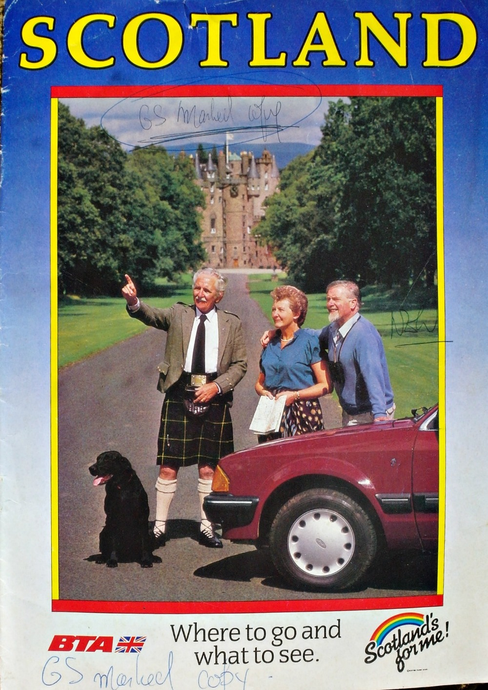 Nothing too ground-breaking in this front cover. Traditional old bufty in kilt pontificates about how lucky the mature market sector is to be allowed in to toffs' castles in Scotland. (In this case, Glamis, I think.) Meanwhile the black labrador - always a dog variety that is very difficult to light - gazes out of shot and is getting overheated. (As is this caption.) And I've just spotted the car, which may be a Ford Escort Mk3. (See, we can do nerdy as well..)