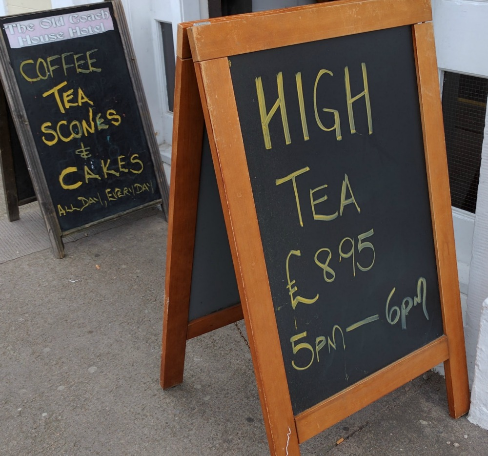 See? You can still find a high tea in some places. This is the Old Coach House Hotel in Buckie, Moray. This is an observation, rather than a recommendation, by the way.