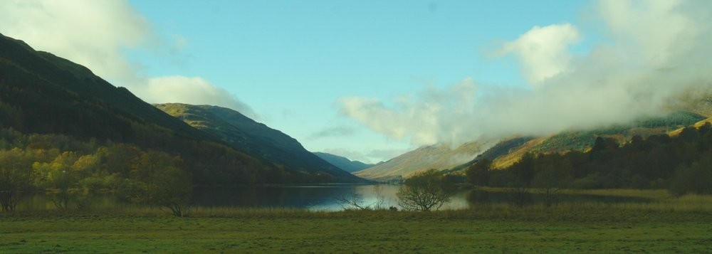 An autumn morning looking west up Loch Voil, the Braes of Balquhidder.