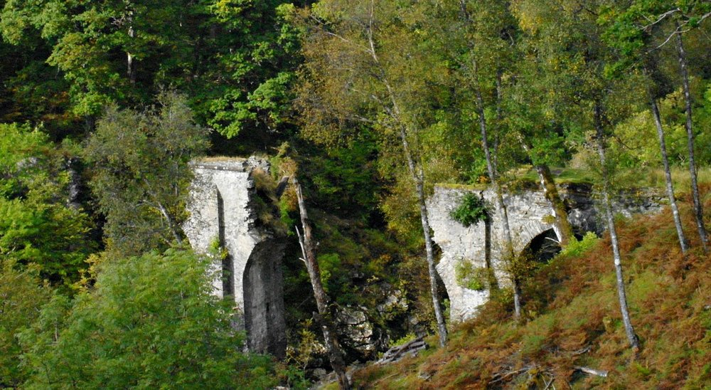 "At one time this three arched but now ruined bridge had an inscription on it reading ""In the ninth year of His Majesty King George II this bridge was erected under the care of Lt General Wade, Commander in Chief of all Forces in North Britain, 1736."" An early example of the use of North Britain to mean Scotland."