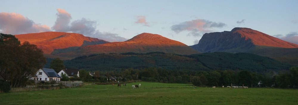 Ben Nevis, on an October evening, from Torlundy. The summit is NOT in cloud!