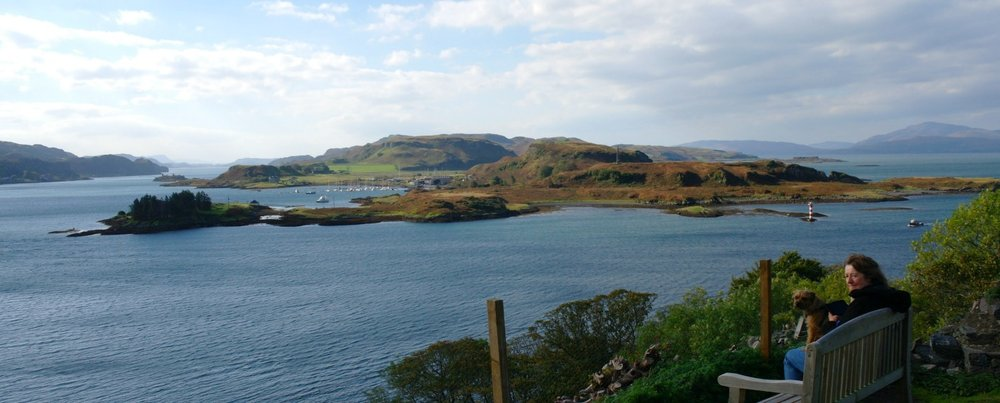 Looking out to the island of Kerrera that shelters Oban Bay (left) from Dunollie Castle, a pleasant short walk from the town of Oban. The much larger island of Mull is on the right, distantly.