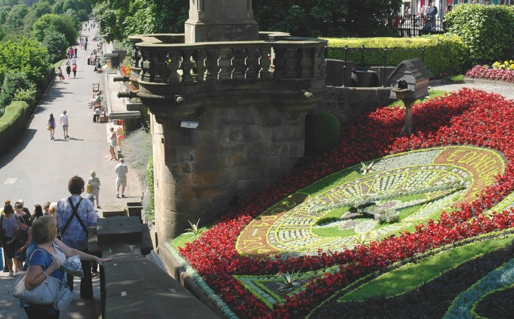 What time is it in Edinburgh? Well you can see both the Balmoral Hotel Clock and the Floral Clock (as here) from Princes Street Gardens. It's been admired by generations of visitors.