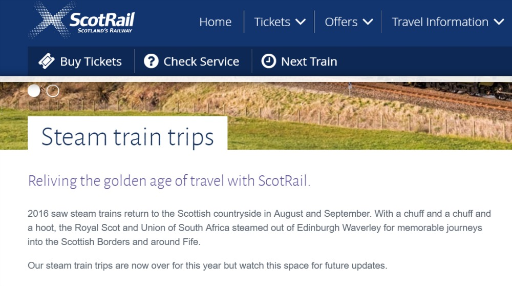 Well, I'm sure I don't mind a chuff or even two on a steam train trip on the Borders Railway, should they ever happen again...