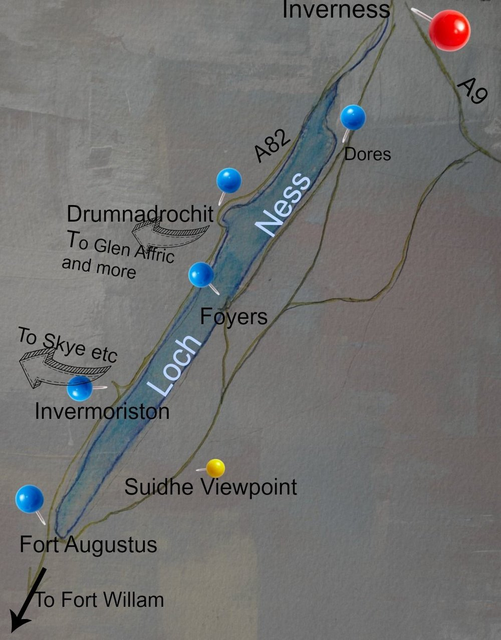Here's a bare-bones map of Loch Ness and its position, just a few minutes' drive below Inverness. Busy road to left, not-so-busy but quite narrow roads to right.