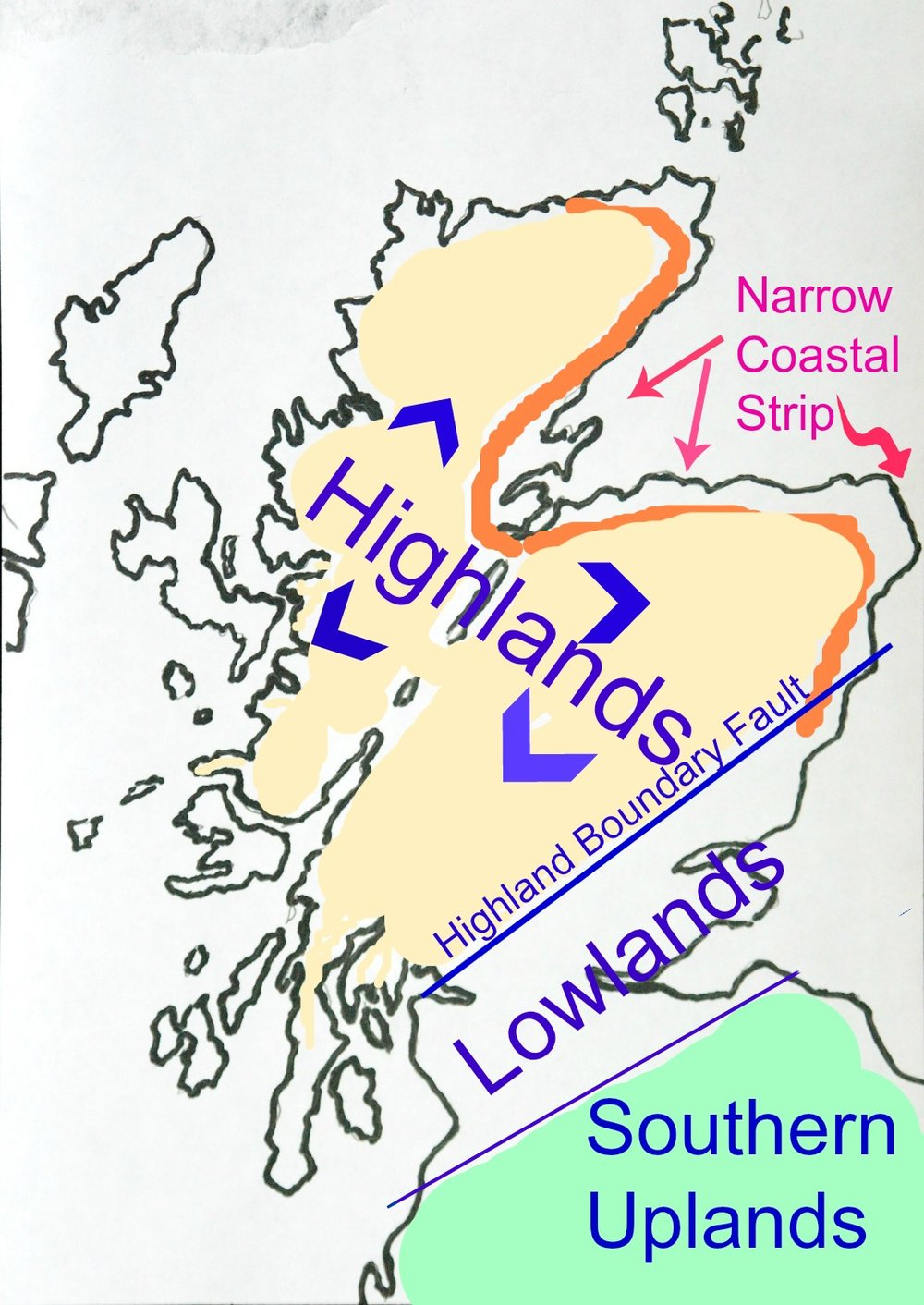 The Highland Boundary Fault defines the Highlands in a way - except for the coastal strip with its farmlands and a rich form of the Lowland Scots tongue as well, especially from Aberdeen and round the Moray Firth.