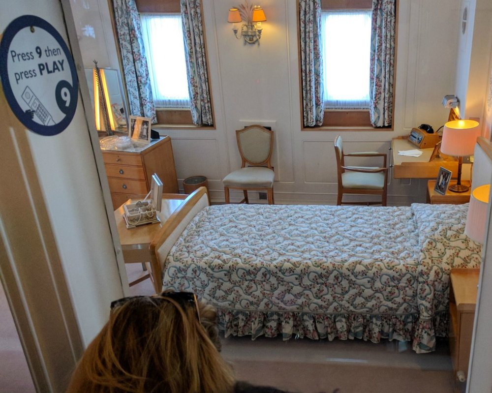 Beside ourselves with excitement...according to Royal Yacht Britannia's own press pack page 'Britannia is the only place you can see the bedroom of a living British monarch.' This is a phrase which seems increasingly odd the longer you think about it. Och, it's just a wee bed anyway. But the experience seems uncomfortably voyeuristic.  Still, it's Scotland's best visitor attraction, so that's all right.
