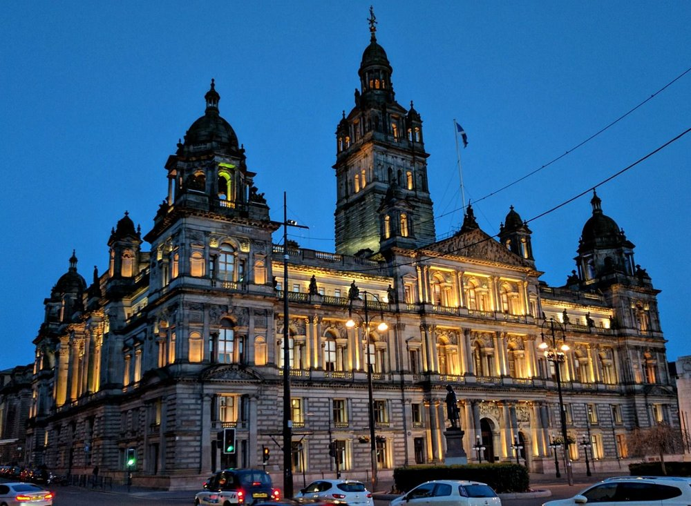 Yes, I know we started off here in the morning - but the Glasgow City Chambers looks good at night too.