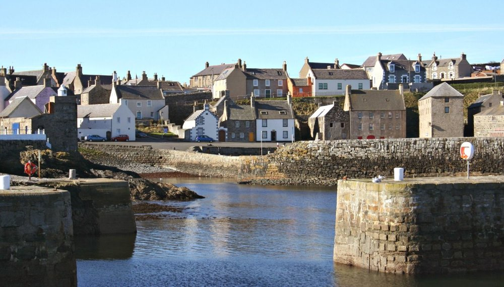 Portsoy and its harbour. The waterfront features in several scenes in the new  Whisky Galore.