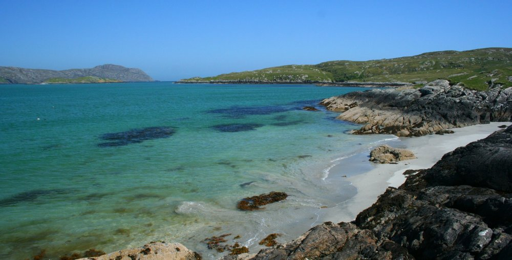 Hebridean blue (or is it green?). Looking east down the Sound of Eriskay, where the real wreck happened. See also picture below.