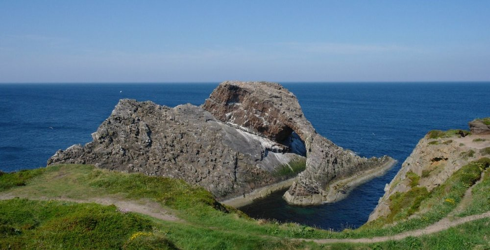 The coastal path swings past the Bow Fiddle Rock at Findochty then heads east for Cullen. A very attractive section of walkable coastline.