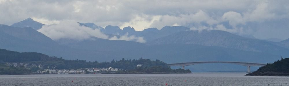 Skye Bridge and the mountain Blaven on the horizon