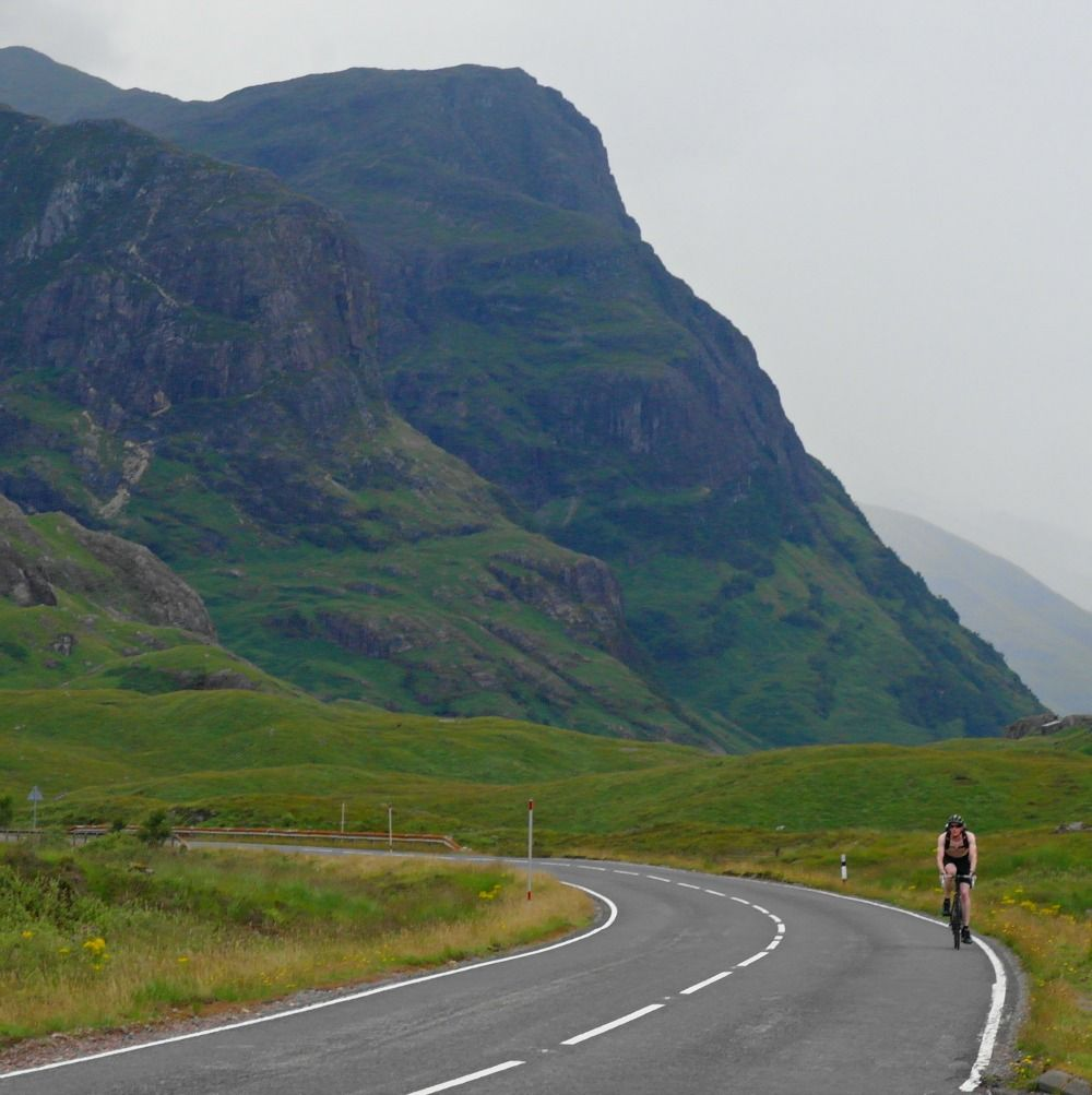 Cyclist in Glen Coe. It looks deceptively quiet in this picture, but streams of traffic and heavy goods vehicles use the road. Good on him…