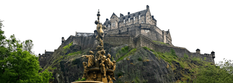 Edinburgh Castle - a view looking up from West Princes Street Gardens.