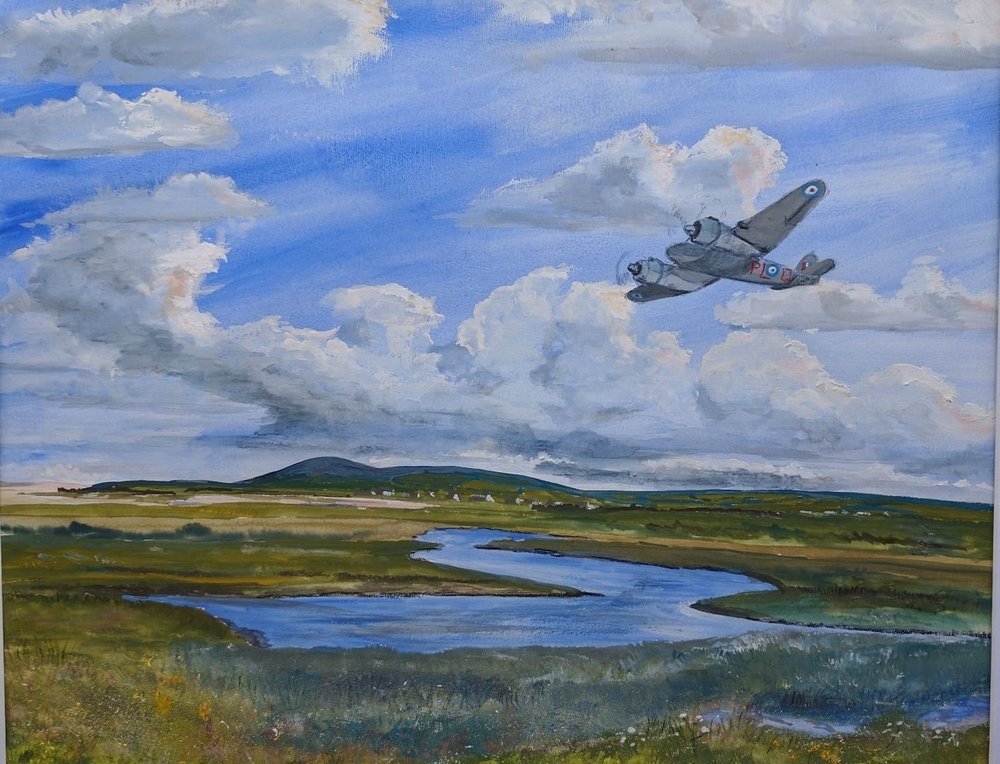 Beafighter circling over Dallachy.  In gouache. Just an impression...