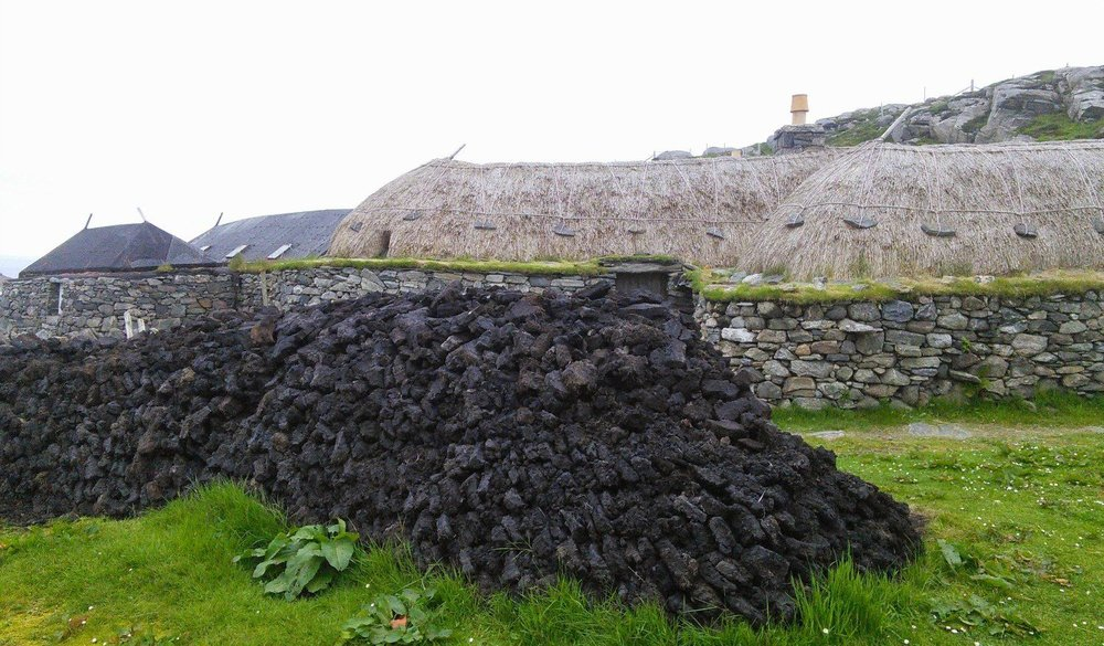Peat stack at Gearrannan - this is the fuel of these islands. Islanders today are reopening their peat banks as oil is so expensive.