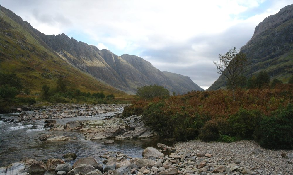 See? Glen Coe is still impressive when it's gloomy. Just a single shaft of sunlight in this October picture.