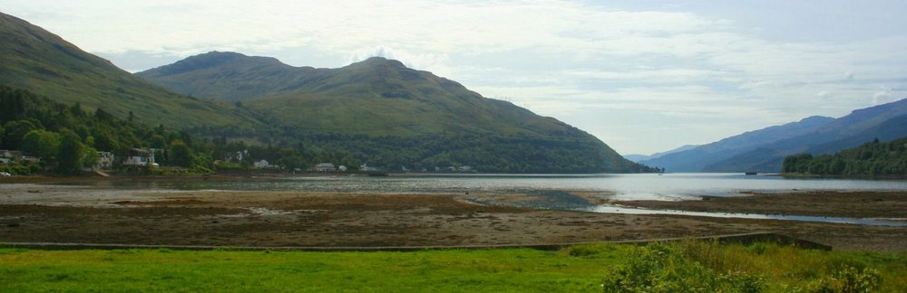 The tide is out at Arrochar at the head of Loch Long, Loch Lomond's neighbour, though a sea-loch.