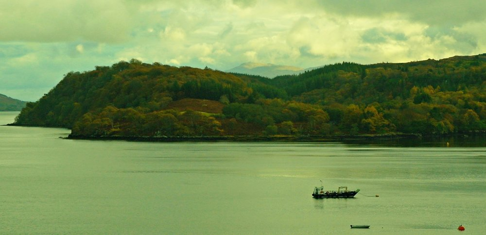 View towards distant Ben Resipol, from the Western Isles Hotel, Tobermory, Mull