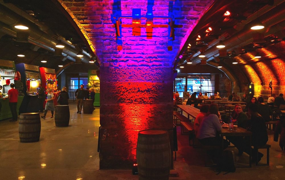 Funky lighting - maybe echoing its former club/disco days - at Platform under the Arches. A quiet Sunday afternoon in Glasgow.