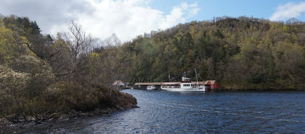 The Trossachs Pier and today's SS Sir Walter Scott, ready for cruising. Launched in 1900, it ran on coal till conversion to bio-fuel for the 2008 season, as part of a major re-fit.