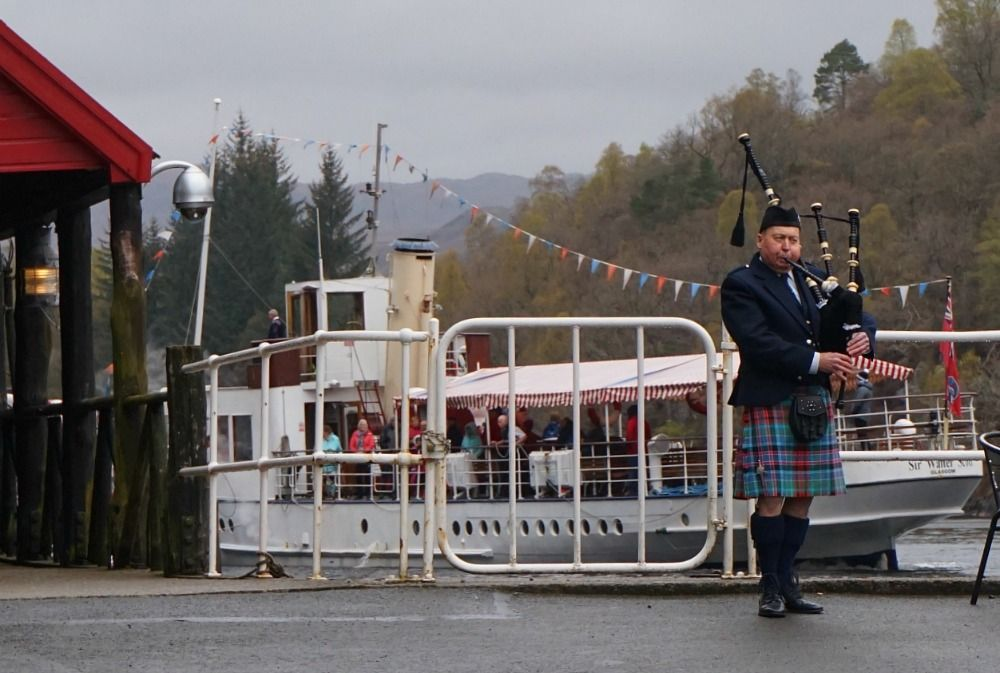 Today, you sometimes even see a genuine Highland piper serenading you as you get on the steamship at the Trossachs Pier. This one was collecting for a good cause.