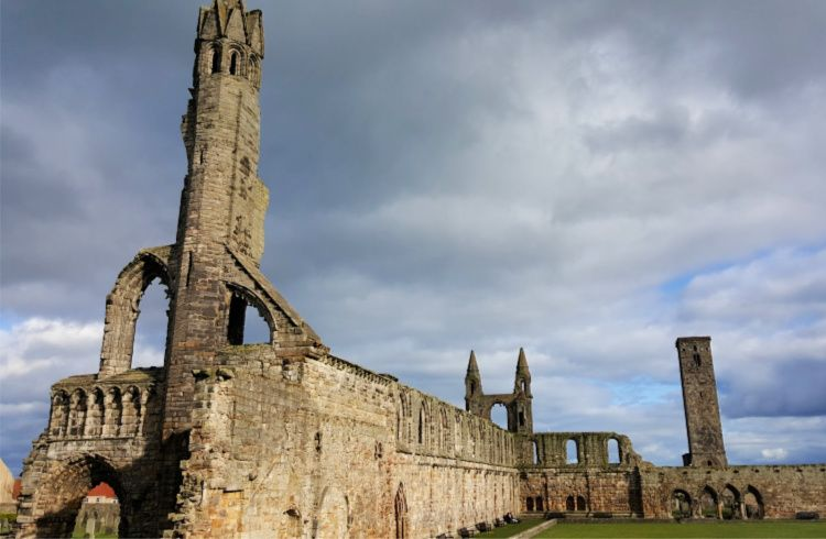 The ruins of St Andrews Cathedral with St Rule's Tower (right)
