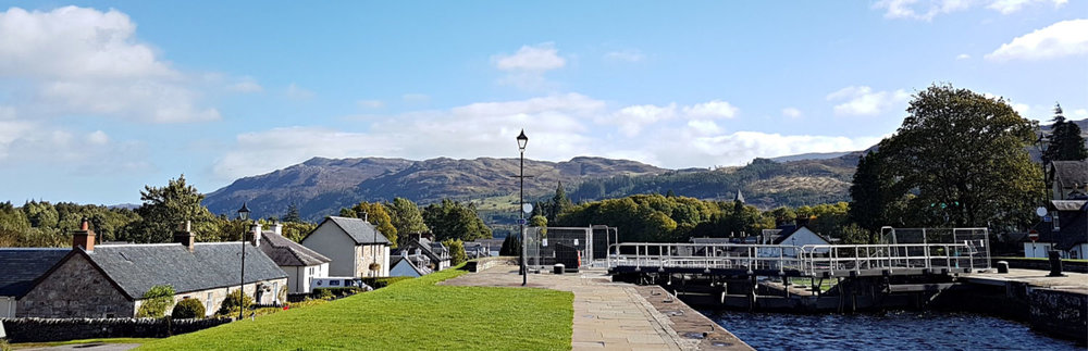 These are the locks at Fort Augustus at the south end of Loch Ness. There's usually some boaty activity going on by way of a diversion here.