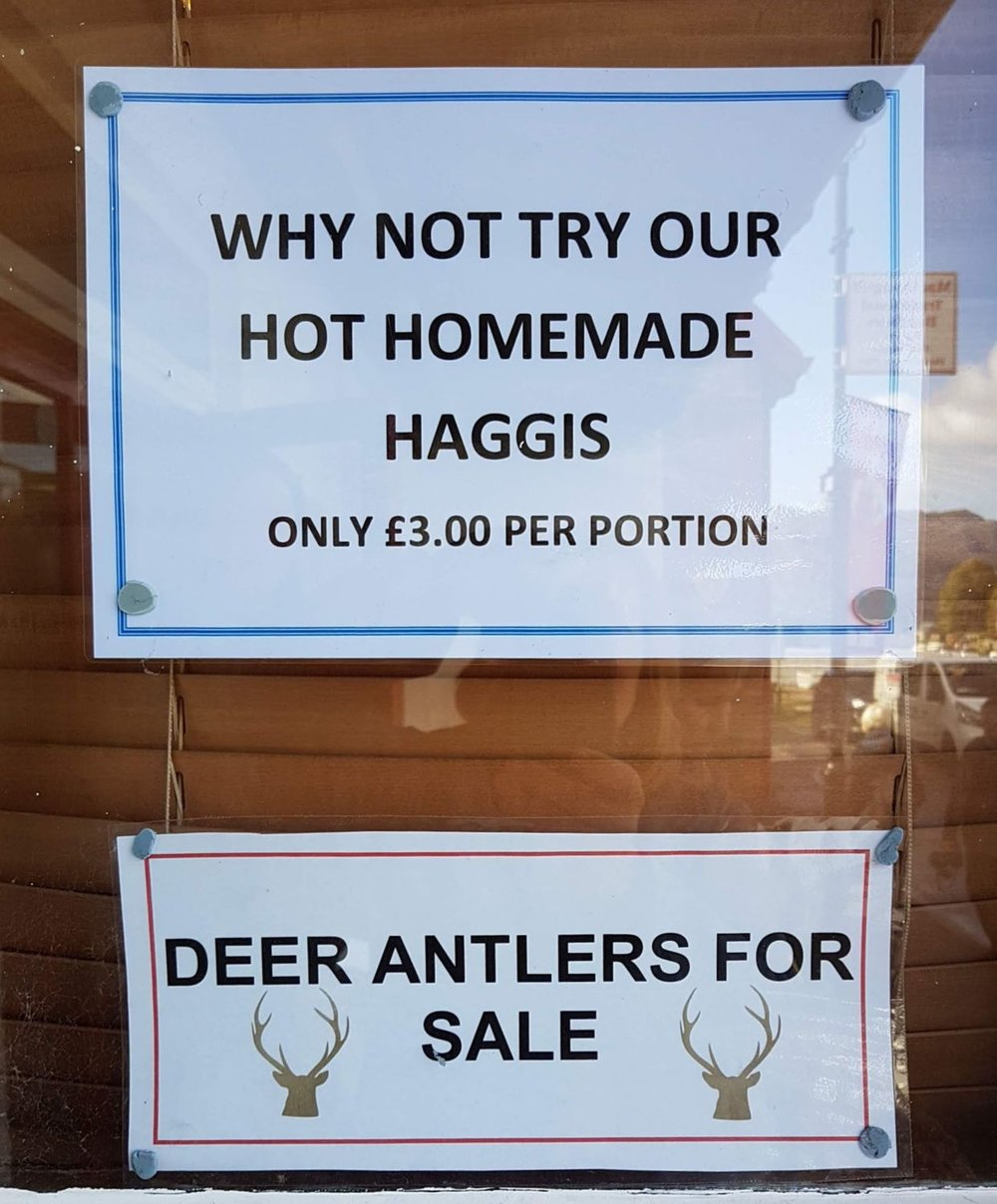Here's a shop in Fort Augustus making it easy for you to say 'Well, I tried haggis once…' The deer antlers are not for eating, obviously, but for hanging your hat on or sawing into chews for the dogs perhaps.