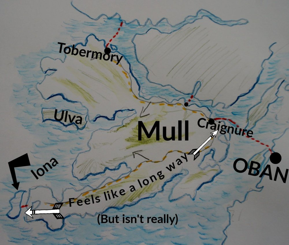 There are four places on Mull linked by ferries - three to the mainland and one to Iona. The very quick Fishnish to Lochaline link is on the road between Craignure and Tobermory. Full details on the Mull section of the  Calmac Ferry timetables . Click the pic for more info on Mull and why Iona can feel like a long way. Or is it just me?