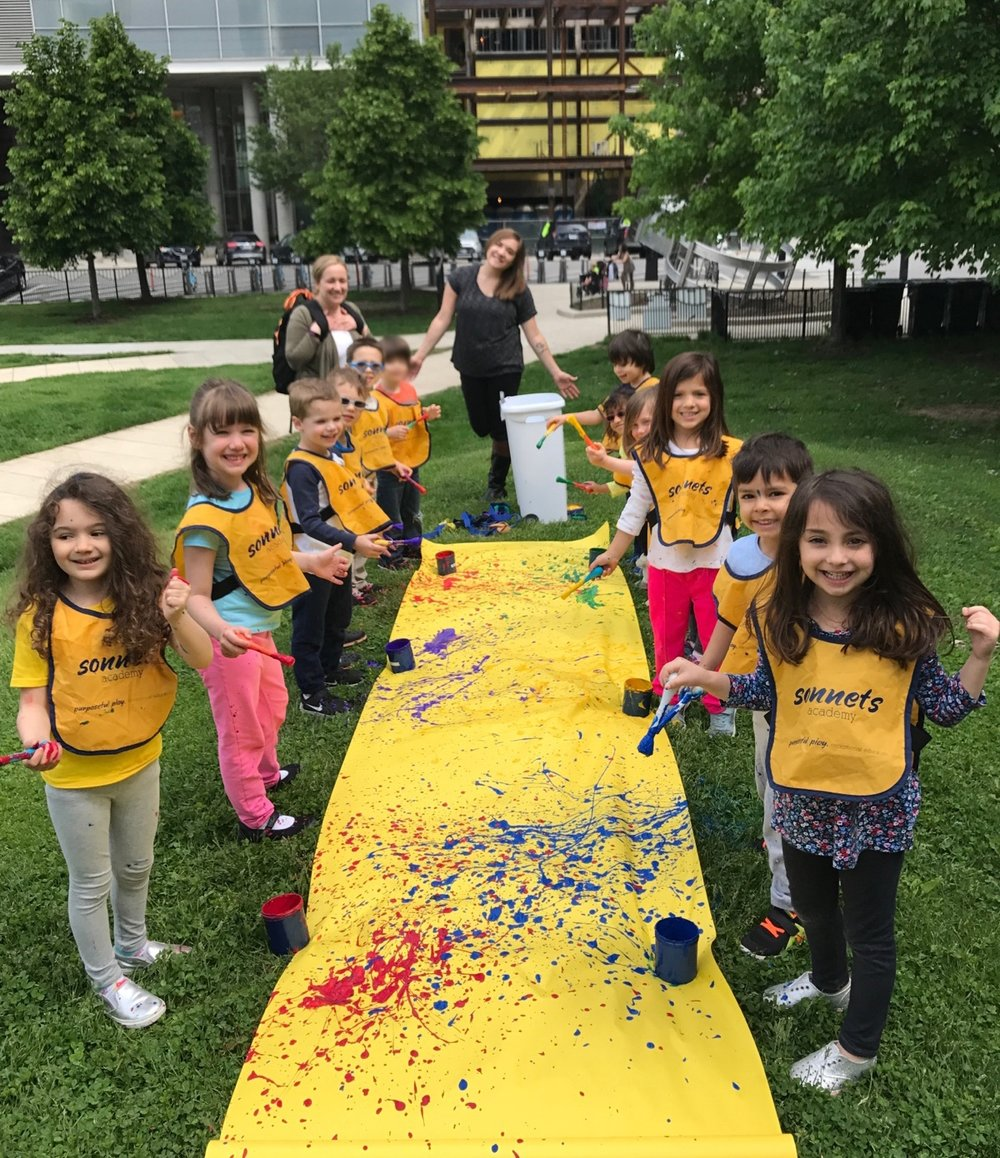 Students & Teachers are both excited about Summer Fun! Our River North Prekindergarten artists painted a beautiful large scale canvas!