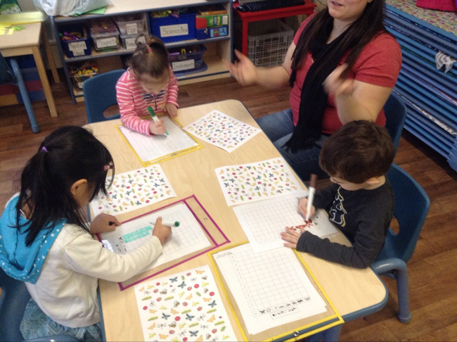Our River North PreKindergarten class works on counting and graphing.