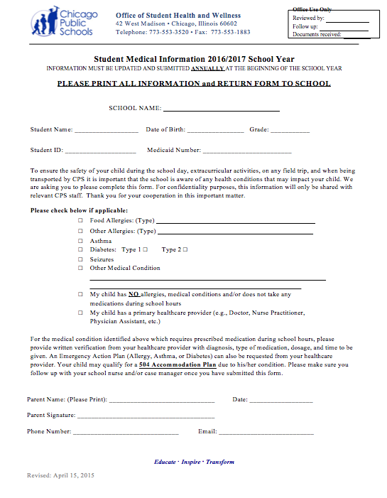 School Medical Information Form PRINT AND TURN IN AT SCHOOL