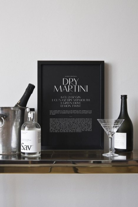 Classy cocktail posters.
