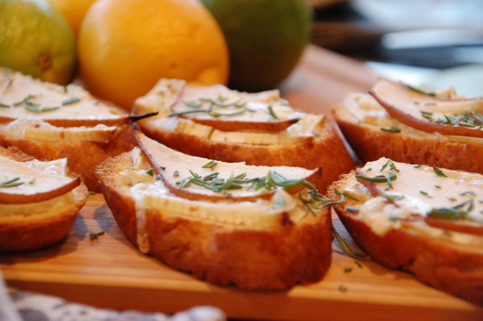 Pear & Brie Toast - perfect with a glass of wine